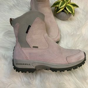 Merrell Tundra Waterproof Pink Suede Ankle Boot